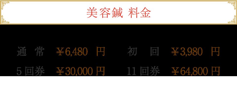 鈴鹿市 グランデセルティスの美容新料金 通常6,480円 初回3,980円 5回券30,000円 11回券64,800円